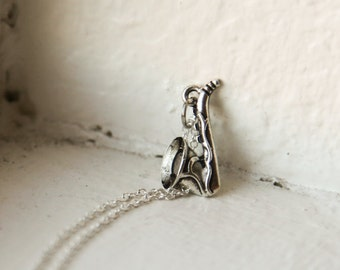 Saxophone Jazz Music Necklace- 925 Sterling Silver or silver tone Chain  -Modern Style Jewelry- Stocking Stuffer