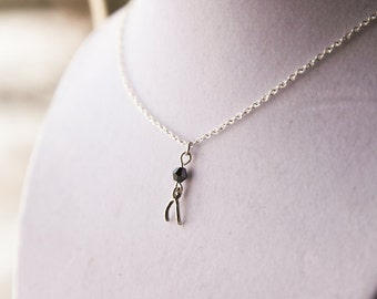 Tiny Wishbone Luck Necklace- Lucky Bone with Swarovski -925 Sterling Silver or silver tone chain- You Choose Birthstone Color- Birthday