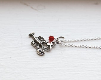 Lobster Necklace & Red Swarovski- 925 Sterling Silver- Ocean Nautical Charm Jewelry- Dark Silver Lobster Necklace