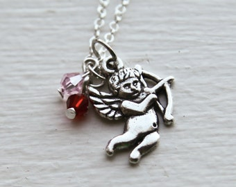 Cupid Necklace for Valentines Day with Red & Pink Crystal- 925 Sterling Silver or Silver Tone Chain- Romantic Gifts