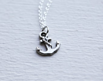 Pirate Anchor Necklace- Nautical - Sterling Silver or Silver Tone Chain - Charm Jewelry - Ocean Breeze
