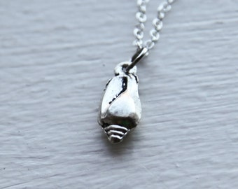 Tiny Sea Shell Necklace- Silver Nautical- Ocean Snail Shell- 925 Sterling Silver or Silver Tone chain