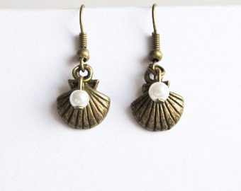 Seashell & Pearl Earrings- Bronze Nautical- Tiny Glass Pearl and Ocean Sea Shell