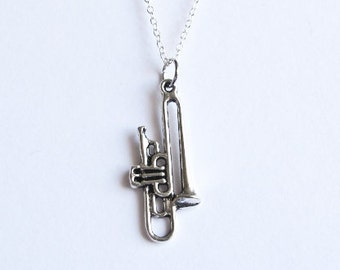 Valve Trombone Music Necklace- 925 Sterling Silver Plated Chain  -Modern Style Jewelry- Stocking Stuffer