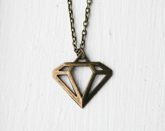 Diamond Necklace- Geometric Minimalistic Jewelry- Retro Charm in Bronze- Engagement Gift- Quirky, Popular, Funny