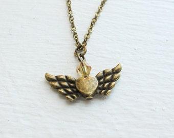 Heart with Wings Necklace- Custom Birthstone Swarovski Crystal Jewelry- Flying Heart Charm
