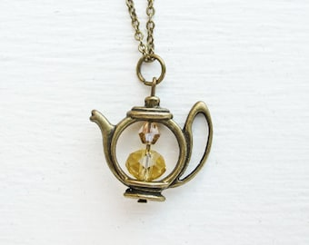 Teapot Necklace with Custom Swarovski Crystal Beads- Bronze Charm Jewelry- Black Tea, Green Tea, Herbal Tea