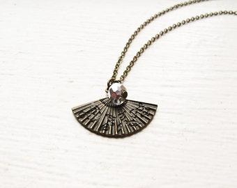 Hand Fan Necklace- Chinese Oriental Fan Charm- Ornate Bronze- Diamond Swarovski Crystal- Under 20