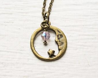 Crescent Moon Necklace- Custom Birthstone Swarovski Bead- Moon, Star Charm Jewelry