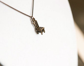 Miniature Bronze Goldilocks Baby Bear Chair Charm Necklace