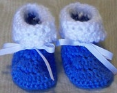 Crochet Baby Booties - Blueberry and White