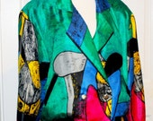 SALE Gorgeous bright colored PICASSO ART jacket 80s
