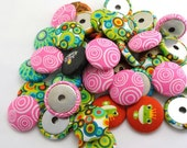 RESERVE LISTING  Fun  Flat Back Buttons Fabric Covered Flatback