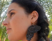 Iron Butterfly Handstamped Leather Earrings