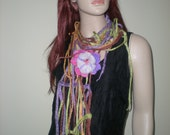 SALE-Felted Art- Wet Felted Scarf/ necklace with felted flower