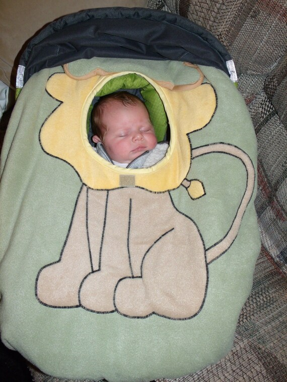 infant car seat cover leon the lion by rtranck on etsy. Black Bedroom Furniture Sets. Home Design Ideas