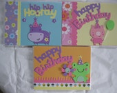 """Set of 3 Handmade Birthday  Cards - Cricut Critters- 4 1/4"""" x 5 1/2"""" with Envelopes  Blank Inside"""