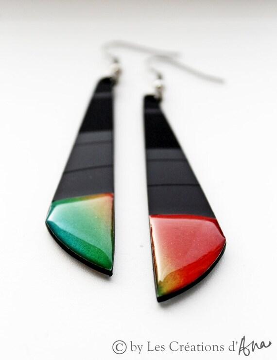 vinyl record earrings. recycled. colorful earrings. long earrings. recycled jewelry. funky. modern jewelry.