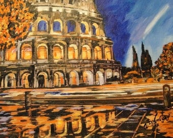 Colosseum painting, Rome, Roman art, ORIGINAL Acrylic Painting, Italy Europe Contemporary art,  Cityscape, wall art, wall decor, home decor