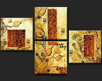 ORIGINAL ABSTRACT Painting HUGE 80 x 16...4 Piece Landscape Palette Knife Textured Impasto Gold Metallic Leaves Fine Art on Stretched Canvas