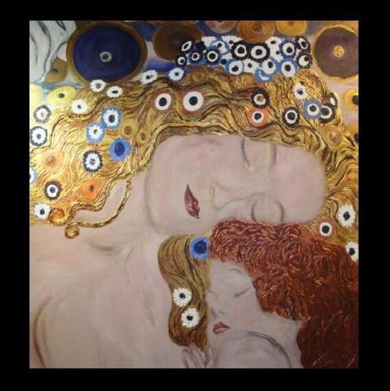 ORIGINAL hand painted Gustav Klimt Mother and Child Portrait