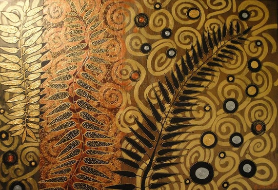 ORIGINAL Acrylic Painting 40 x 30 or 48 x 24 Landscape Ferns Grass Leaves Nature Gold Copper Earthy Metallic on Canvas
