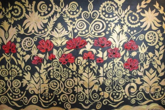 ORIGINAL Acrylic Floral Landscape Painting 40 x 30 - Red Poppies - Flowers on Black, Gold, Bronze - Wall Art on Stretched Canvas