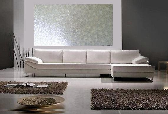 ORIGINAL Acrylic Painting 24 x 48 Custom colors and sizes available Pearl White Taupe Floral Landscape -Textured flowers