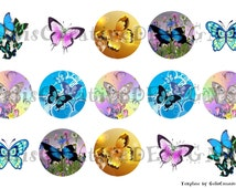 Beautiful colorful butterflies digital image sheet for bottlecap, crafts, scrapbooking etc..No.059