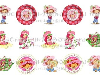Cute Strawberry Shortcake digital image sheet for bottlecap, crafts, scrapbooking etc..No.060
