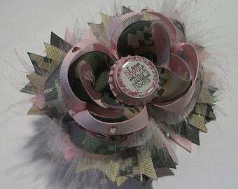 Military ACU print grosgrain ribbon Hairbow