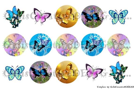 Beautiful colorful butterflies digital image sheet for bottlecap, crafts, scrapbooking etc..No.059