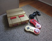 Gold & Red Custom Painted Super Nintendo