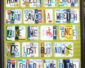 Poster of Amazing Grace first verse in recycled license plates
