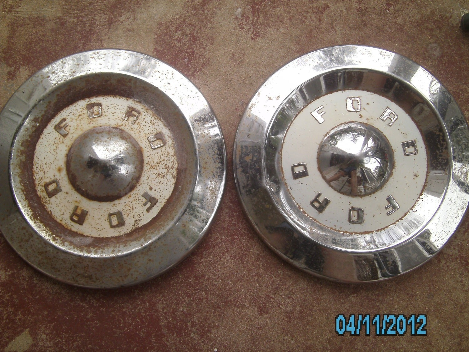 Vintage KQQL FORD HUBCAPS 1957 for Man Caves by SILVERSTARSALVAGE