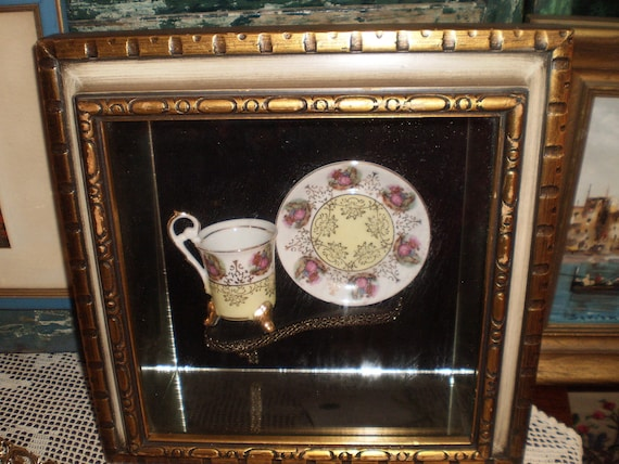 Cup Amp Saucer Shadow Box Decorative Wall Art Hanging Tea Coffee