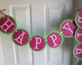 Happy Birthday Banner, Pinks and Greens Happy Birthday Banner, Girl Birthday Banner, 1st Birthday Banner, Fairy Banner