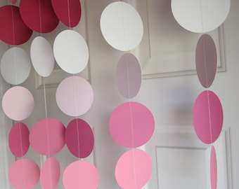 Paper Garland, Pink Garland, 1st Birthday Party, Weddings, Bridal Shower, Baby Shower, Princess Party
