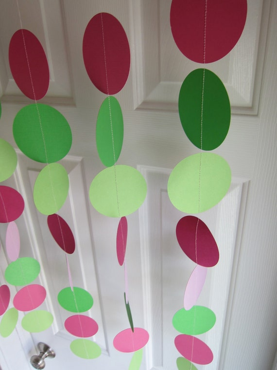 Paper Garland Decorations, Pinks and Green, Paper Bunting, Birthday Decorations, Strawberry Shortcake, Bridal Shower, Baby Shower Decoration