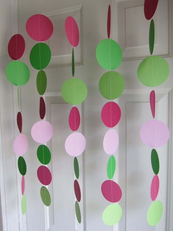 Paper Garland,  Green and Pink, Pink and Green Decorations, Baby Girl Shower Decorations, Strawberry Shortcake Inspired Birthday Decorations