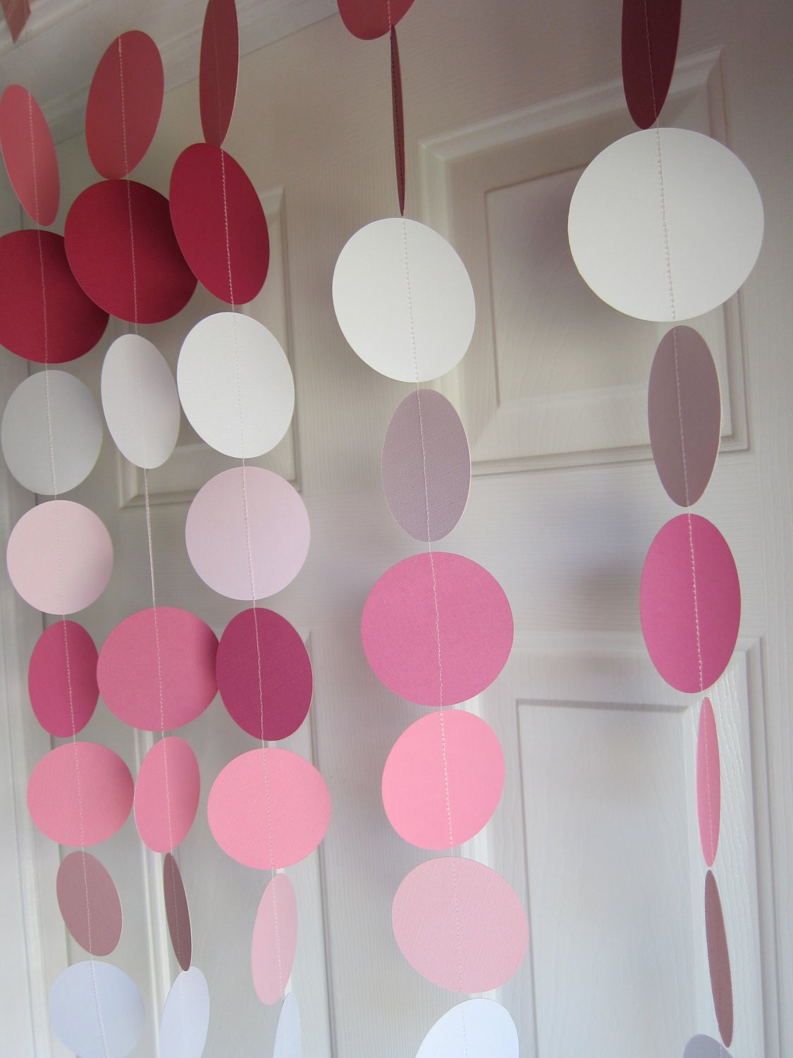 Paper garland pink garland 1st birthday party weddings for Room decor ideas paper