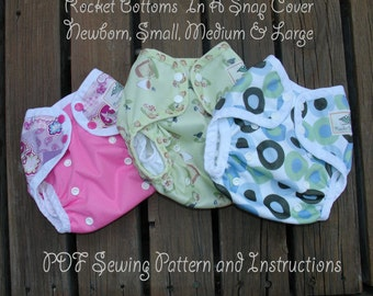 PDF Cloth Diaper Sewing Pattern - Rocket Bottoms In A Snap NB through LRG Cover