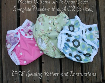 PDF Cloth Diaper Sewing Pattern - Rocket Bottoms In A Snap Complete (NB-OS 5 sizes) Cover