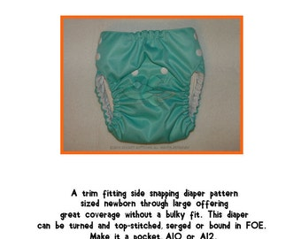 PDF Cloth Diaper Sewing Pattern - Rocket Bottoms Side Snapper (NB-LRG)