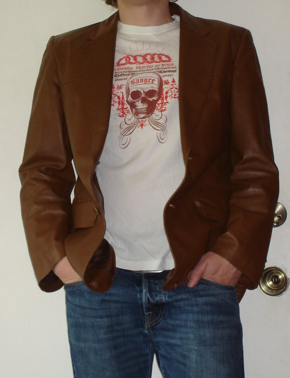 70s Vintage Cortefiel Leather Jacket Made in Spain size 42