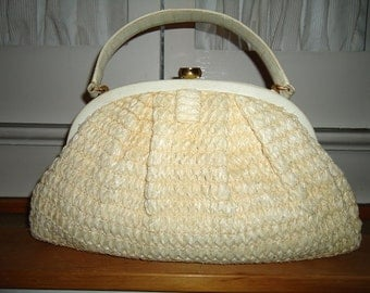 Vintage 1960's Cream Colored Leather and Raffia Purse