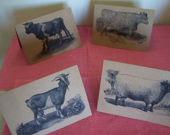 Farm Animals - Cow, Bull, Goat, Sheep - Greeting Note Card Set of 4 printed on Brown Recycled Kraft Cardstock with matching envelope 5 x 7""
