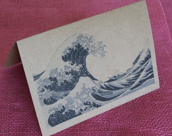 "Hokusai's ""The Great Wave"" Set of ANY 3 Greeting Note Cards Invitations printed on Recycled Kraft Cardstock with matching envelope 5 x 7"""