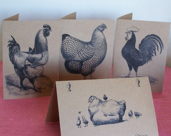Roosters and Chickens Note Card Set of 4 printed on Recycled Kraft Cardstock with matching envelope 5 x 7""