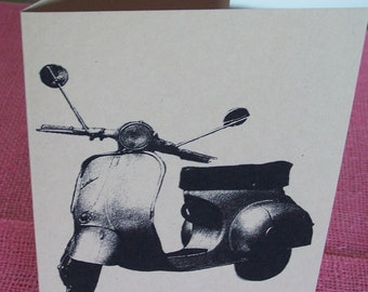Cool Mod Vespa Scooter Set of ANY 3 Greeting Note Cards Invitation Kraft Heavy Cardstock with matching envelope 5 x 7""